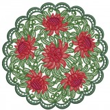 Colored Waratah Doily
