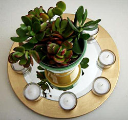A Jade Plant emphasized by a Charger Plate,> round mirror and some votive candles. Jade, because the leaves are round> like coins is considered to be a 'wealth gathering' plant and the mirror> doubles it!