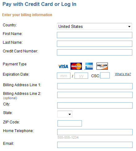 credit card forms for payment