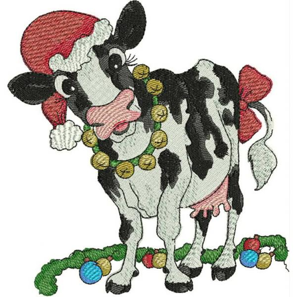 Christmas Cow.Kreations By Kara Secrets Of Embroidery Cow For Christmas