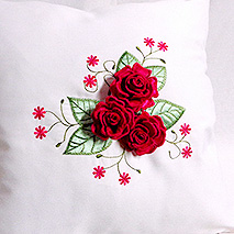 SATIN ROSES WITH LEAVES PILLOW