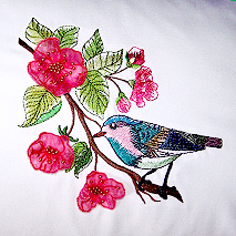 WATERCOLOR BIRD AND 3D BLOSSOM PILLOW